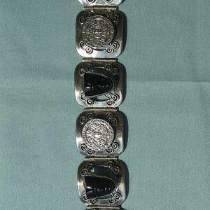D.F. 925 Sterling Silver Black Onyx Bracelet